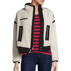 McGuire Larousse Sherpa Bomber Jacket (80.830 CLP) ❤ liked on Polyvore featuring outerwear, jackets, apparel & accessories, chamonix, faux sherpa jacket, bomber style jacket, sherpa fleece jacket, sherpa jacket and stand up collar jacket