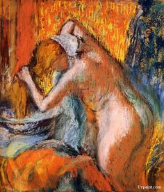 After the Bath, Woman Drying Her Hair : Edgar Degas : Impressionism : nude painting - Oil Painting Reproductions Edgar Degas, Mary Cassatt, Renoir, Rembrandt, Monet, Degas Drawings, National Gallery Of Art, Impressionist Art, Oil Painting Reproductions