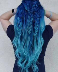 blue ombre hair color trend in trendy hairstyles and colors blue ombre hair; Hair 33 Blue Ombre Hair Color Trend In 2019 Cute Hair Colors, Pretty Hair Color, Hair Dye Colors, Ombre Hair Color, Blue Ombre, Diy Ombre, Dyed Hair Ombre, Blue Hair Colour, Amazing Hair Color