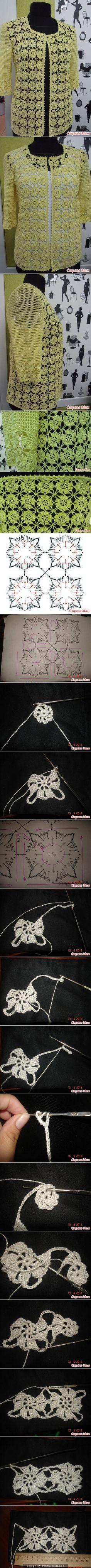 Crochet motif top pullover jac | <br/>    Crochet