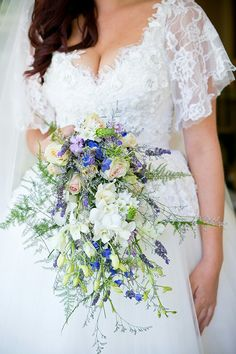 """GORGEOUS Cascading Bridal Bouquet Which Includes: Blush """"Vintage"""" Roses, Blue Delphinium, Lavender, White Orchids, Star Of Bethlehem & Lovely Green Tree Fern...."""