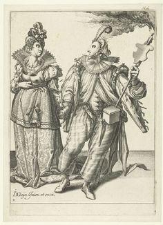Jacob de Gheyn (II)   Een gemaskerde vrouw aan de hand meegevoerd door een gemaskerde man met een fakkel, Jacob de Gheyn (II), 1595 - 1596   Een gemaskerde vrouw in feestelijke kledij wordt aan de hand meegevoerd door een gemaskerde man in feestelijke kledij met een fakkel. Deze prent is onderdeel van een serie van tien genummerde prenten: een titelprent en negen prenten waarop twee of drie gemaskerde en/of verklede figuren ten voeten uit zijn weergegeven.