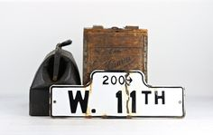 Vintage Street Sign, Porcelain Street Sign, Old Street Sign, Street Sign, Black And White Street Sign, Industrial Decor, W. 11th St. by HuntandFound on Etsy