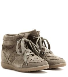 ISABEL MARANT Étoile Bobby Suede Wedge Sneakers. #isabelmarant #shoes #sneakers