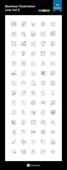Business Illustration Line Vol 5  Icon Pack - 70 Line Icons