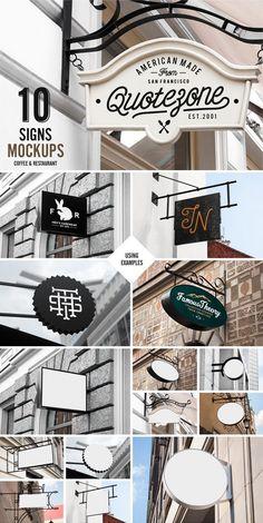 Signs Mockup Restaurant & Coffee psd mockups, product mockups, presentation mockups, mockup templates