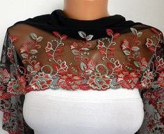 Red Black Scarf  Headband Necklace Cowl with Lace Edge by fatwoman, $25.00