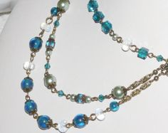 Items similar to gold and green apatite triple strand necklace on Etsy