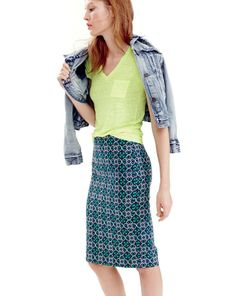 MAR '14 Style Guide: J.Crew vintage denim jacket in patina wash, linen tee and the No.2 pencil skirt in lattice medallion.