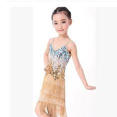 Blue Gold Sequin Flapper Latin Ballroom Dancing Dress for Girls Kids SKU-10501362