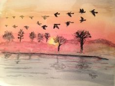 """Each autumn is seen a beautiful sight When they once again start their flight With their """"V's"""" across the sky From the north to south they fly Until for rest on some lake they alight. Watercolor For sale: $50 11x14 Sale 50, Poetry, Rest, Paintings, Sky, Watercolor, Autumn, Beautiful, Heaven"""