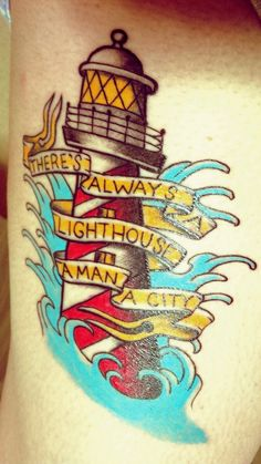 Traditional lighthouse with Bioshock Infinite reference by Nikki at Forever Young Ink; Toronto, Canada.