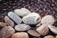 DIY Rustic Wedding Inspiration - memory rocks
