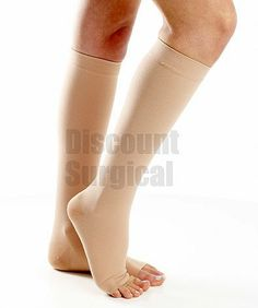A311 Opaque Support Knee-Hi 30-40mmhg Open Toe. Wear your jeans with open toe booties without losing the comfort and support of compression stockings.