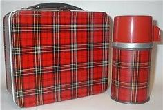 red plaid lunch box and thermos
