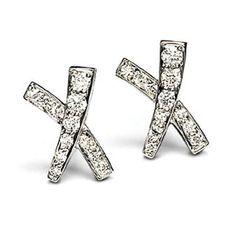 Tiffany Paloma S X Diamond Earrings Cross Heart Silver