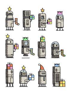 Twelve Xmas Robots (Tom Gauld)