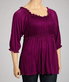 Take a look at this Purple Ruffle Scoop Neck Top - Plus by GLAM on #zulily today!