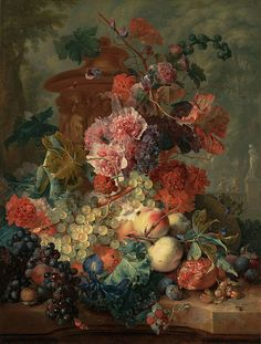 Extraordinary still life by Jan van Huysum. Lines and Colors: http://linesandcolors.com/2015/04/30/eye-candy-for-today-jan-van-huysum-still-life/