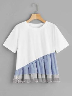 Striped Bow And Ruffle Hem Mixed Media Tee Girls Fashion Clothes, Fashion Outfits, Lingerie Sleepwear, Striped Tee, Pop Fashion, Refashion, Diy Clothes, Blouse Designs, Cool T Shirts