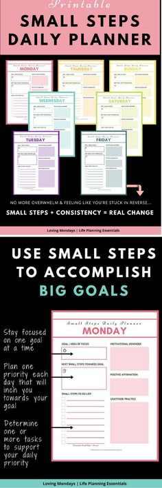 Daily planner - These printables will improve your life by using the 'Small Steps Strategy'. Not your average daily planner. Life Planner, Happy Planner, Weekly Planner, Bullet Journal Printables, Bullet Journals, Types Of Planners, Calendar Organization, Planner Inserts, Motivation Goals