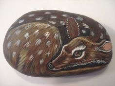 Fawn deer hand painted on a stone  pet rock by wildstonepainter, $12.00