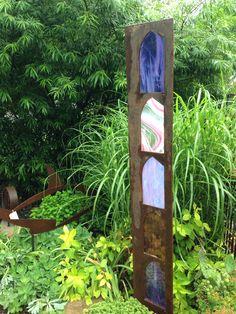 Metal sculpture with art glass. Eclectic Arts; EArtsStudio.com