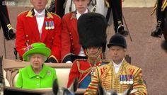 The Queen in bright green! #TroopingtheColour #Queenat90