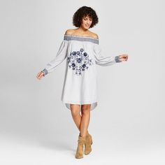 6a007fbd74d Women s Embroidered Stripe Off the Shoulder Shift Dress - Xhilaration  White Navy Xxl