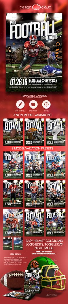 Super Ball College Football Flyer Flyer template, Event flyers - football flyer template
