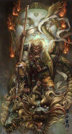 Sun Wukong - the Monkey King Monkey Tattoos, Samurai Artwork, Hanuman Wallpaper, Fu Dog, King Tattoos, Journey To The West, Japon Illustration, Samurai Tattoo, Monkey King