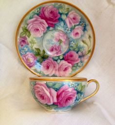 Handpainted Limoges Cup And Saucer Roses And Forget Me Nots Haviland #LimogesFrance