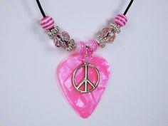 Plektron in pink-rosa meliert mit silberfarbener von ArtJewelryFun