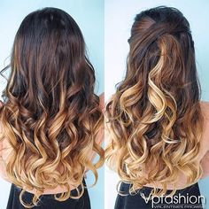 brown blonde ombre indian remy clip in hair extensions-ms053027h27