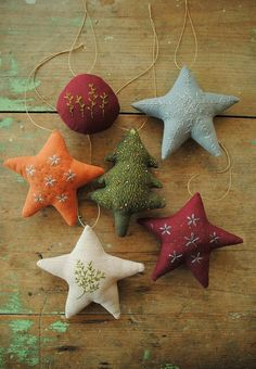 Embroidered Christmas ornaments PDF sewing pattern by Embroidered Christmas Ornaments, Fabric Ornaments, Hanging Ornaments, Felt Ornaments, Fabric Christmas Decorations, Christmas Embroidery, Noel Christmas, Homemade Christmas, Simple Christmas