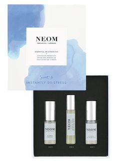 Neom Essential DeStress Kit - A beautiful kit containing three products specially formulated to help relieve stress, calm and relax; made with 100% natural Neom Real Luxury fragrance. £20.00