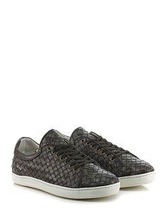 CESARE P. - Sneakers - Uomo - Sneaker in pelle intrecciata con suola in gomma, tacco 25. - FANGO - € 245.00