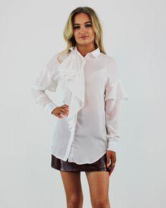 Glamorous White Long Frill Sleeve & Front Chiffon Blouse Smart Casual Shirts, Pink Cadillac, No Frills, Fashion Boutique, Work Wear, Button Up, Chiffon, Blouses, Glamour