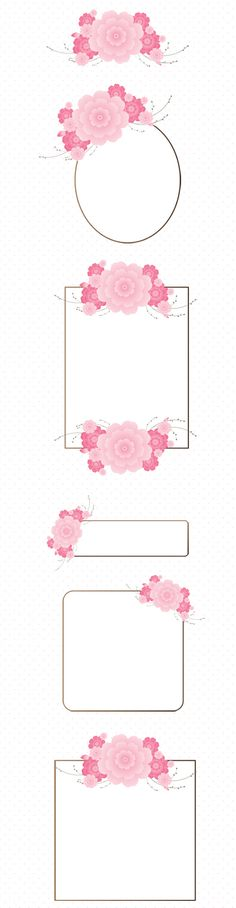 Cherry Blossom digital frames clip art set. Charming clip art for invitations, backgrounds, banners, and designs.