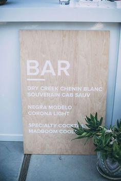 Do you want bar signage? One side could be for the bar and the other for the dinner (if oversized board). diy signs diy wood wedding signs - almost makes perfect Wood Wedding Signs, Wedding Signage, Wedding Bar Signs, Diy Wedding Menu, Trendy Wedding, Wedding Day, Green Wedding, Wedding Shoes, Wedding Gifts