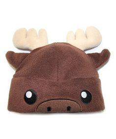 Look at this #zulilyfind! Brown Moose Fleece Beanie - Kids by crazyheads® kids #zulilyfinds