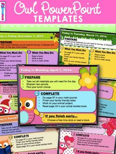 Brighten your room every season with these 13 different owl-themed PowerPoint templates that you can use to display morning work or seat work instructions. Each theme contains five PP slides (one for each day of the week), and there are two templates to choose from for each theme.