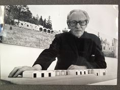 Mogens Lassen with a sketch for the 600 square meters tremendous house in Julsø, Denmark.