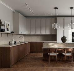 Kitchen Room Design, Home Room Design, Kitchen Layout, Interior Design Kitchen, New Kitchen, Japanese Interior Design, Interior Desing, Interior Exterior, Modern Scandinavian Interior