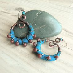 Silk Wrapped Spiral Earrings Medium Teal and Maroon by GypsyIntent