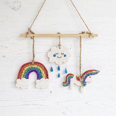 Rainbow unicorn modern nursery decor baby mobile rainbow