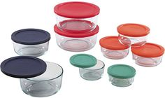 7. Pyrex 1110141 18pc Glass Food Storage With Multi-colored Lids