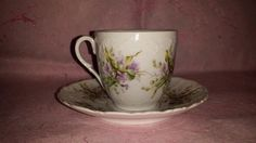 $20--Antique C.T. Carl Tielsch Altwasser Germany Purple Floral Demitasse Tea Cup and Saucer Purple Flowers by JunkYardBlonde on Etsy