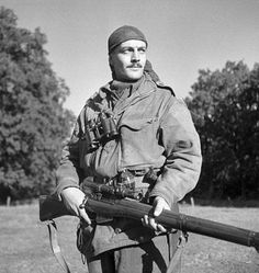 Sergeant Harold Marshall of the Calgary Highlander sniper platoon of the 2nd Canadian Infantry Division.