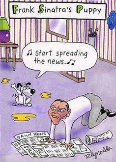 Dog Jokes: Frank Sinatra got a puppy, so start spreading the news. Dog Jokes, Funny Dog Memes, Funny Cartoons, Funny Comics, Funny Dogs, Dog Humor, Fart Humor, Silly Dogs, Hilarious Jokes